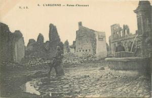 World War 1914-1918 Red Cross sanitary soldier Avocourt ruins war disaster