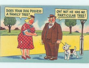 Linen comic FAT WOMAN TALKING TO MAN WALKING HIS DOG HL3364