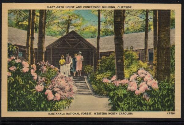 North Carolina colour PC Bath House Nantahala Nat Forest, N.C., unused