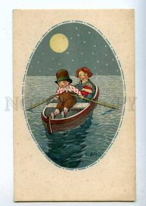 199075 ART DECO Kids in Boat MOON by GIRIS Vintage Colorful PC
