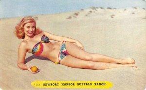 Newport Harbor Buffalo Ranch Blonde Pin-Up Girl Bikini c1950s Vintage Postcard