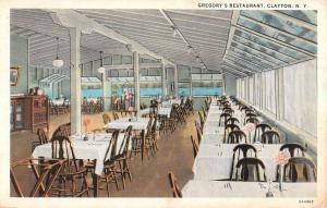 Clayton New York Gregorys Restaurant Interior Antique Postcard K90125