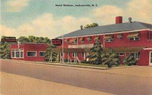 Jacksonville North Carolina Hotel Walmor Linen Vintage Postcard JI658087