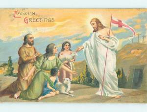 Pre-Linen easter JESUS CHRIST HOLDS ST. GEORGE'S CROSS FROM THE CRUSADES hr2002
