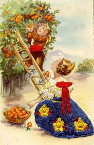 Embroidered - Children Picking Oranges