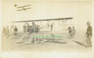 1910 Los Angeles CA RPPC: Aviator Arch Hoxsey Before Death, Willard in Air