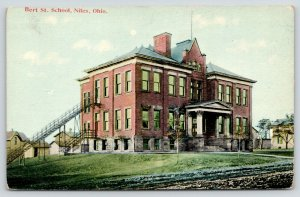 Niles Ohio~Big Columns~Unusual, Long Fire Escapes on Bert Street School~c1910