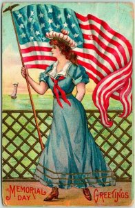 Vintage 1908 MEMORIAL DAY GREETINGS Patriotic Postcard Girl w/ Large U.S. Flag