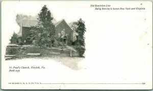 1900s OLD DOMINION LINE Steamship Co. Postcard St. Paul's Church - Norfolk VA