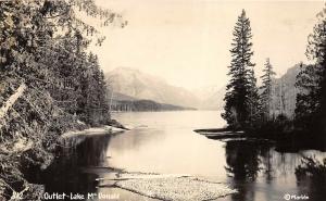 Lake McDonald Outlet Glacier National Park Montana 1950s RPPC Photo Postcard