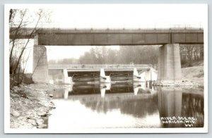 Horicon Wisconsin~Rock River Bridges~1940s Real Photo Postcard