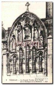 Postcard Old Vezelay Basilica Madeleine La Grande Verriere the Facade