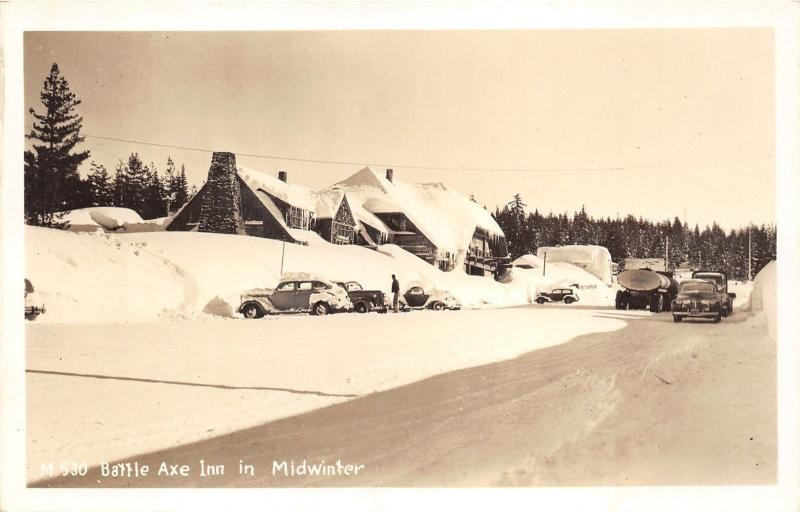 Government Camp Oregon~Battle Axe Inn in Winter~Heavy Snow~1940s RPPC