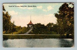 Detroit MI, Canal & Terrace, Bell Isle Park Vintage Michigan c1910 Postcard