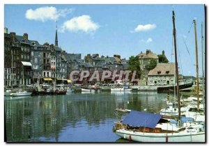 Modern Postcard Honfleur Old Basin In the second plane Boat
