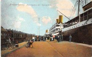 Passenger Steamer Ship Railroad Train Bremerhaven Germany 1910c postcard