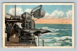 United States Navy Destroyer Torpedo Tubes Vintage Postcard