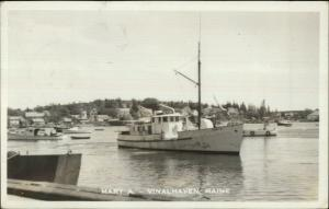 Vinalhaven ME Lobster Boat Mary A 1955 Used Real Photo Postcard