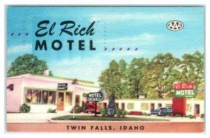 TWIN FALLS, Idaho ID ~ Roadside EL RICH MOTEL 1950 Linen Postcard