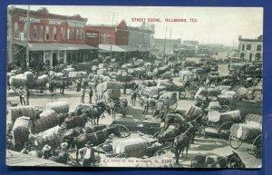 Hillsboro Texas tx Street scene horse carriages load of cotton bales postcard