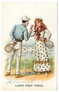 Romance Couple Tennis Loves First Token Vintage Postcard