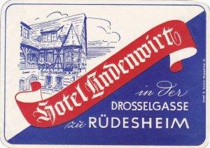 Germany Ruedesheim am Rhein Hotel Lindenwirt Vintage Luggage Label sk2809