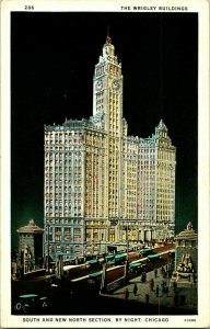 Vtg Postale Chicago Illinois Il Wrigley Bâtiments Sud Neuf Nord Section Nuit