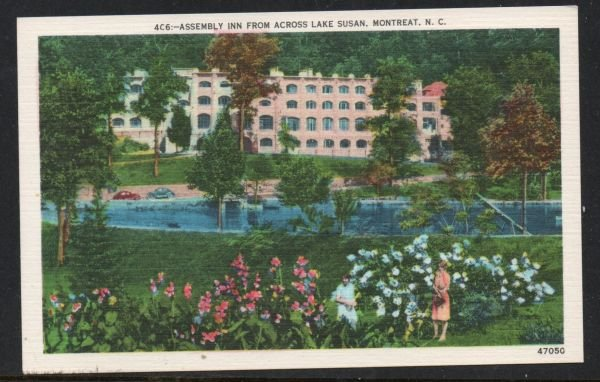North Carolina postcard Assembly Inn, Lake Susan, Montreat, N.C. unused