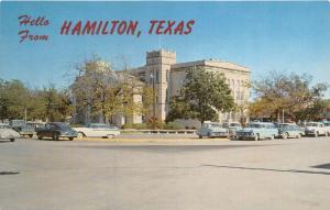 Hamilton Texas~Hamilton County Court House~Classic 50s Cars in Street~Postcard