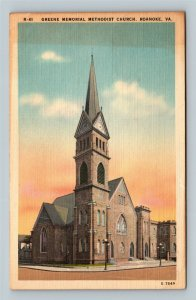 Roanoke VA, Greene Memorial Methodist Church, Linen Virginia Postcard