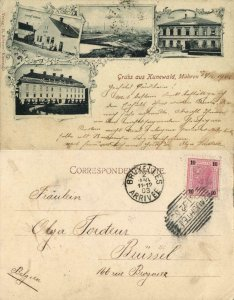 czech germany, KUNEWALD KUNÍN, Mähren, Ziegelei Czeike, Schule (1902) Postcard