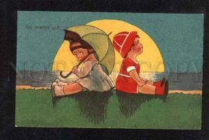 049675 Charming KIDS w/ Umbrella in Moonlight Old PC