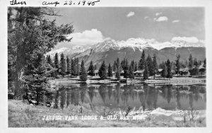 JASPER NATIONAL PARK CA~LODGE & OLD MAN MOUNTAIN~J A WEISS REAL PHOTO POSTCARD