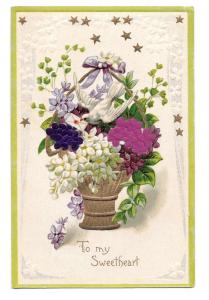 To My Sweetheart Silk Flower Add-On Dove Vintage Postcard