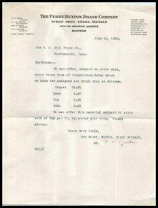 1915 The Perry, Buxton, Doane Co, Scrap Iron, Letterhead, Boston, Mass A1