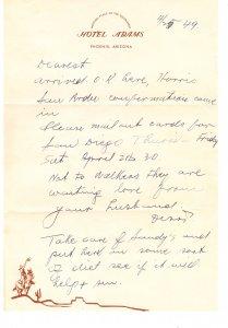 Hotel Adams – Phoenix AZ – letterhead / letter – 1949