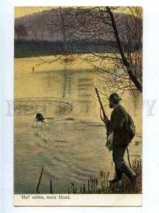 183041 Duck hunting w/ dog POINTER water for prey Vintage