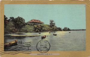 Saratoga Lake New York~Pavilion on Hill Top~Empty Wooden Boats~See Note~1908 Pc
