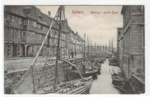 Osteraa gamle Dage Boat Harbor Aalborg Denmark 1910c postcard