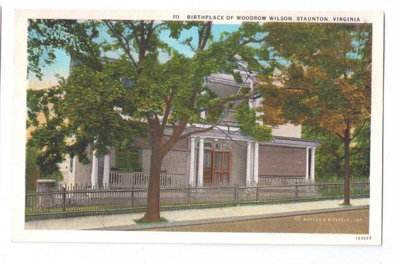 Woodrow Wilson Birthplace Staunton VA Virginia Postcard