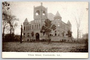 Crawfordville Indiana~Wilson School~Students Gathered Outside Castle~c1910 B&W