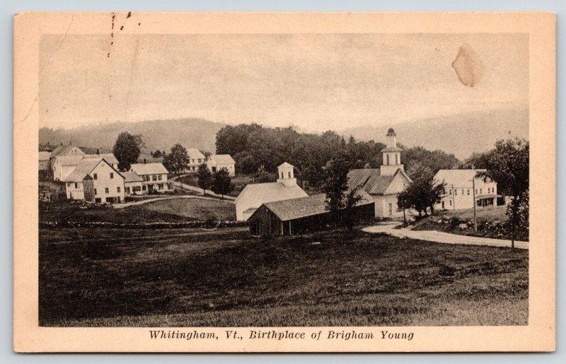 Whitingham Vermont~Birdseye Church~Homes~Birthplace Mormon Brigham Young~c1914