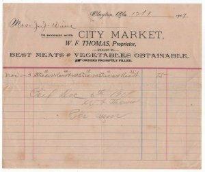 1909 Billhead, CITY MARKET, Meats, Vegetables, Clayton, Alabama