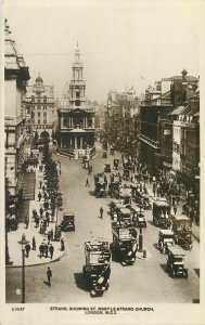 Postcard British England London strand showing mary street square double decker