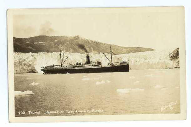 RPPC of Tourist Steamer at Taku Glacier in Alaska AK