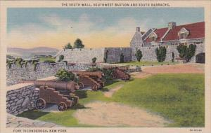 New York Fort Ticonderoga The South Wall Southwest Bastion And South Barracks