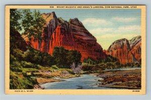 Zion National Park UT-Utah, Mount Majestic and Angel's Landing, Linen Postcard