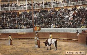 CHIHUAHUA MEXICO PSTMK~KILLING THE BULL~BULL FIGHTING~SEIGE PUBL POSTCARD 1900s