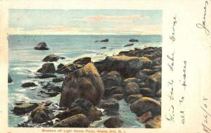 Watch Hill Rhode Island Light House Point Breakers Antique Postcard K80958