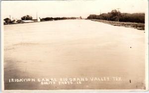 RPPC RIO GRAND VALLEY, TX Texas    IRRIGATION  CANAL    1925      Postcard